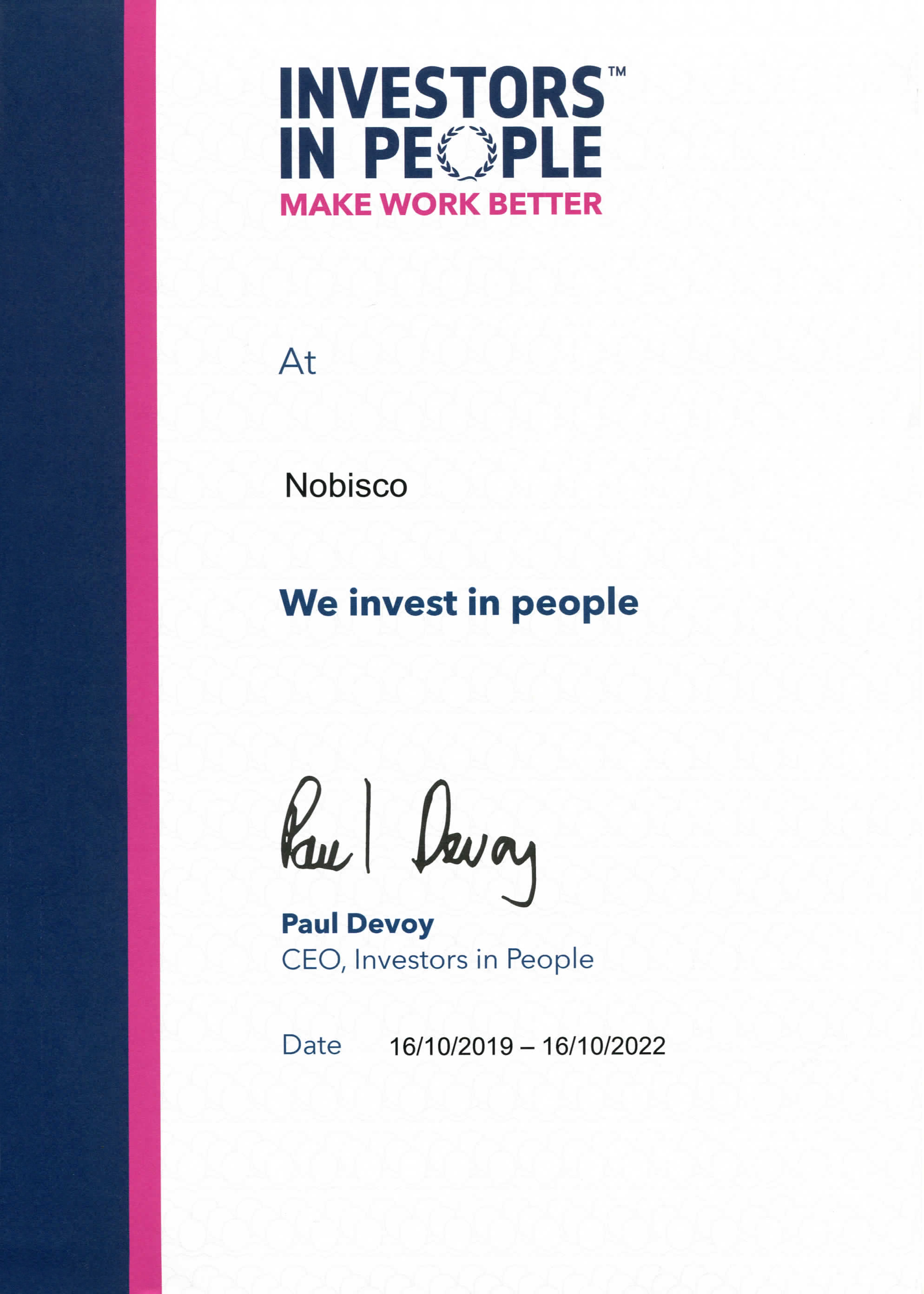 Nobisco's Investors In People Certificate