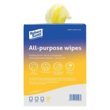 All Purpose Wipes Yellow - 200 Per Roll