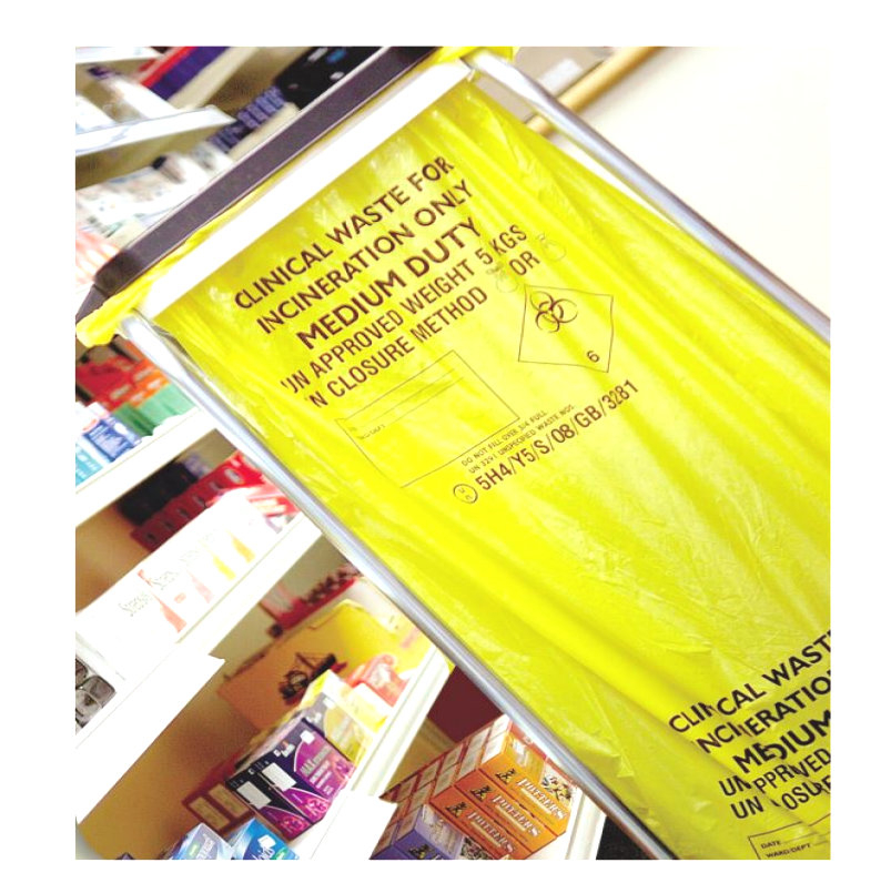 Yellow Med Duty Clinical Waste Bag 20*50/Case 17L FLO508