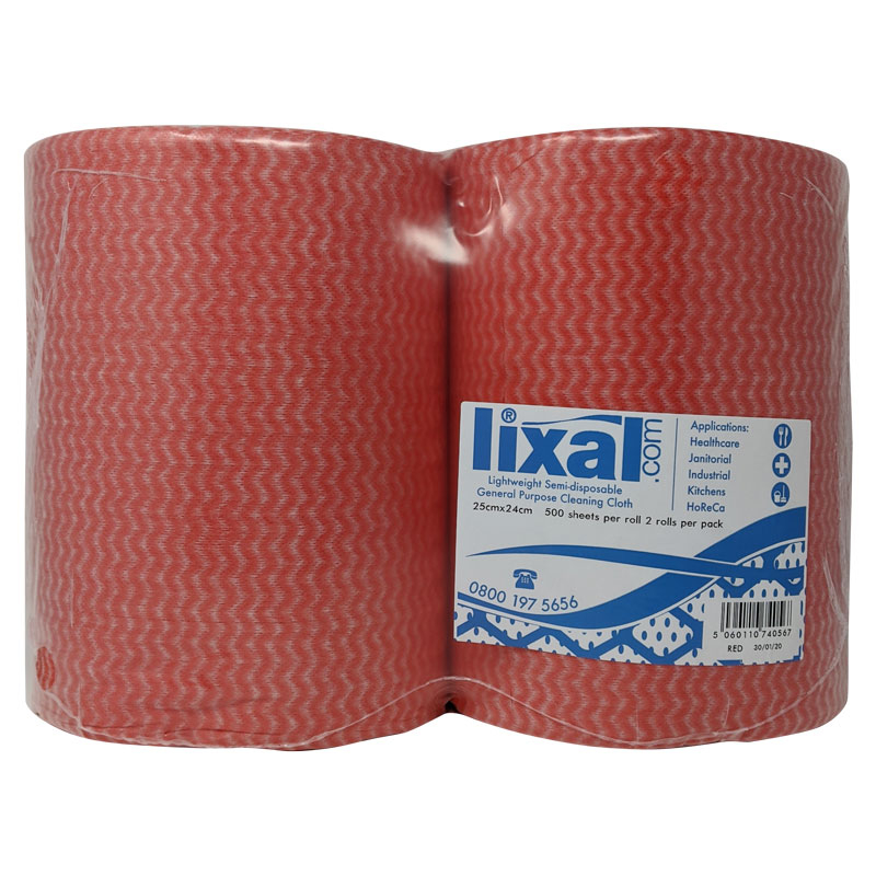 ALL PURPOSE ROLL RED CLOTH 2 PER PACK 500 SHEET