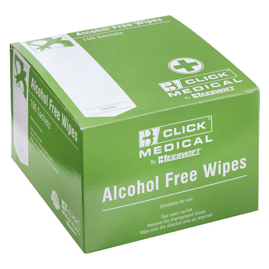Antiseptic Alcohol Free Wipes Individually Wrapped  Box/100