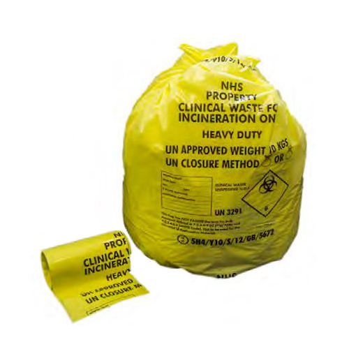 HEAVY DUTY CLINICAL WASTE SACK YELLOW  15*28*39  CASE X 100