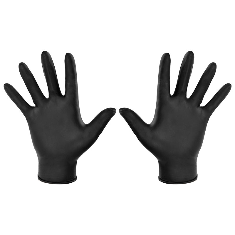 BLACK NITRILE GLOVES - MEDIUM POWDER FREE  BOX/100