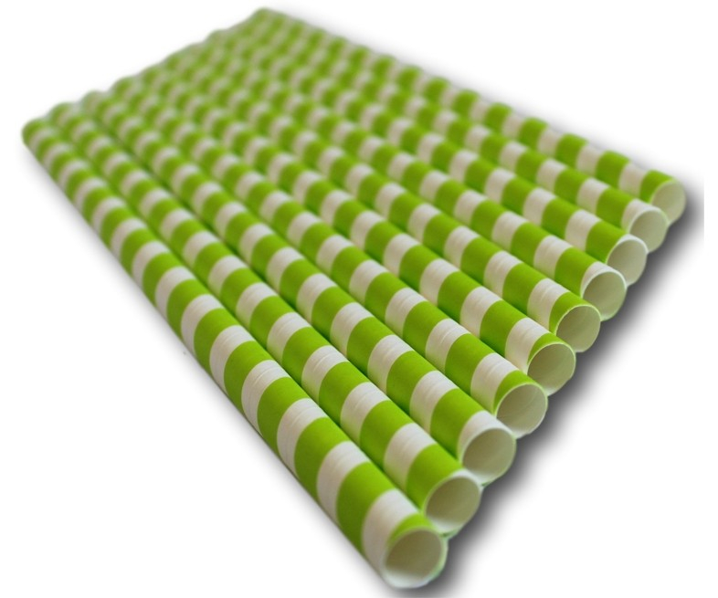 GREEN STRIPED PAPER STRAW 6MM COMPOSTABLE PACK/250