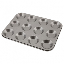 Carbon Steel Non-Stick 12 Cup Bun Tray