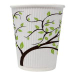 8oz White Compostable Ripple Cup Tree Design (Case/500)