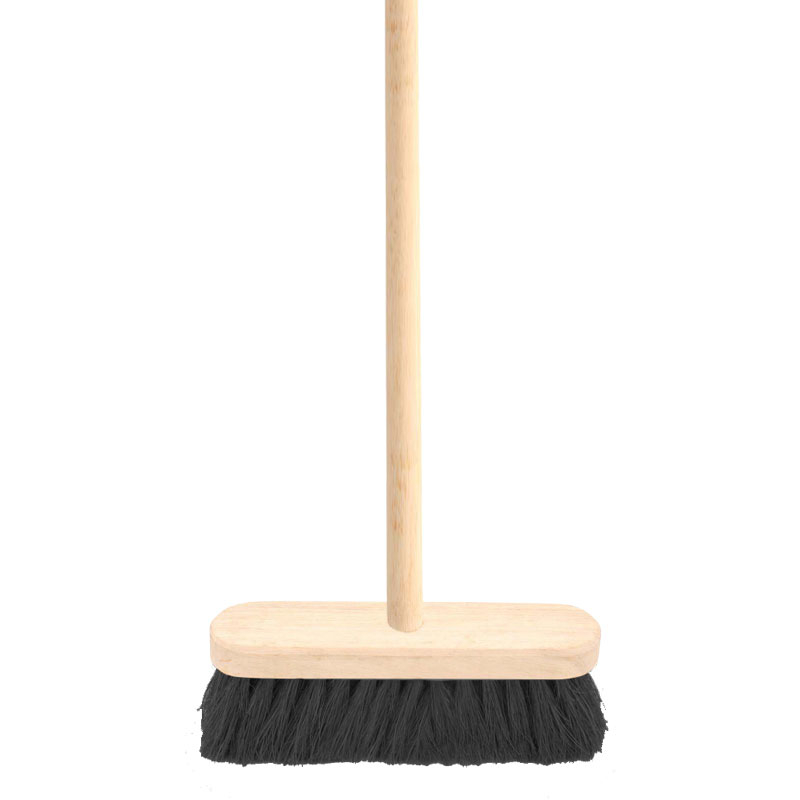 12inch Black Coco Broom Complete