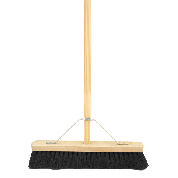 18inch Black Coco Broom Complete With Stay & Stale