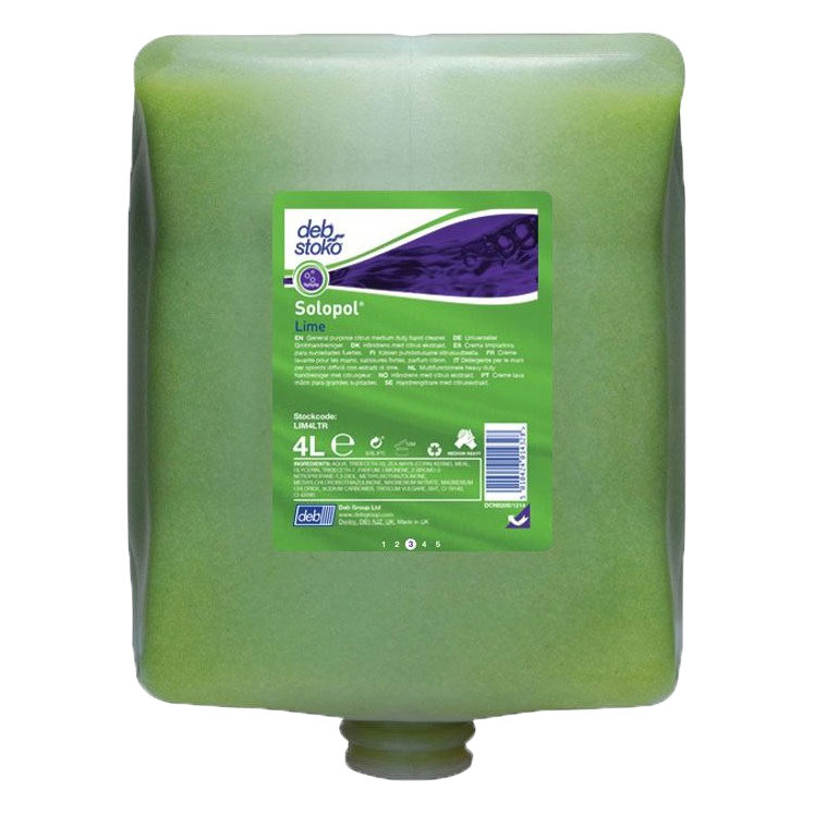 SOLOPOL DEB LIME CREAM HAND CLEANER 4LTR CARTRIDGE 4/BOX