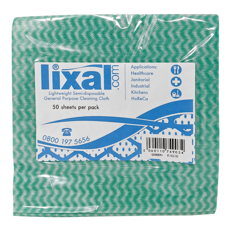 LIXAL COTTONETTE WIPE GREEN 43X35CM 50 WIPES PER PACK