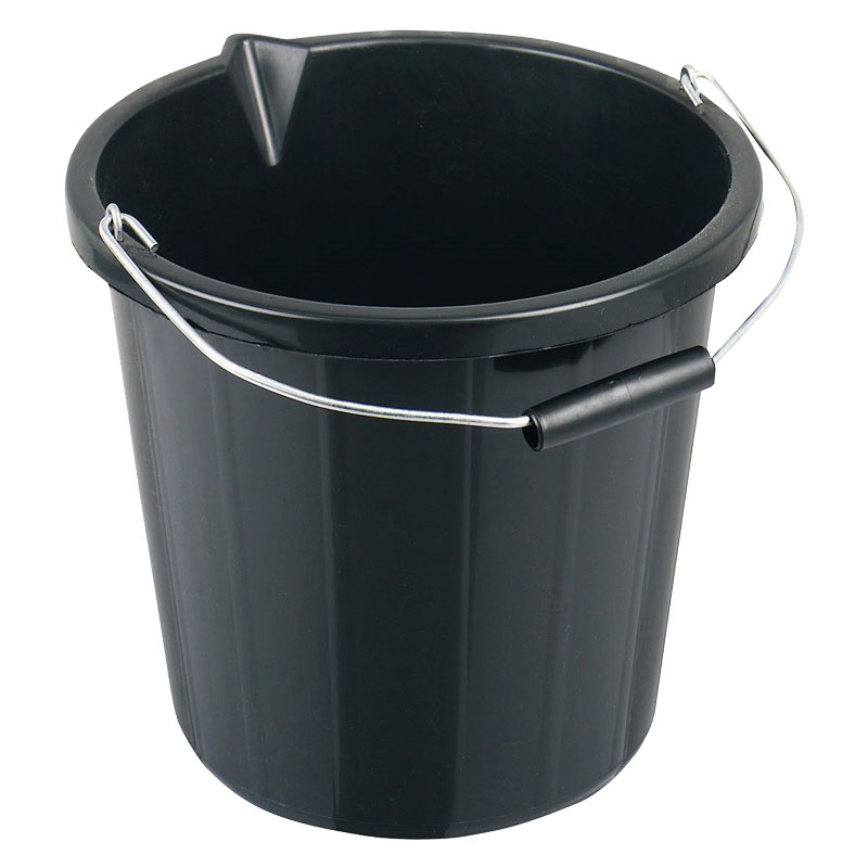 14L BLACK PLASTIC BUCKET