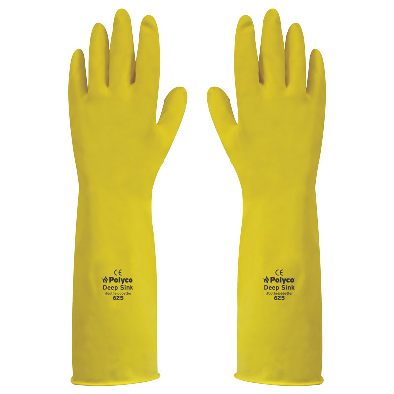DEEP SINK LONG LATEX GLOVES YELLOW SIZE 8