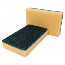 Foam Sponge Backed Scourers 10 Per Pack Green/Yellow
