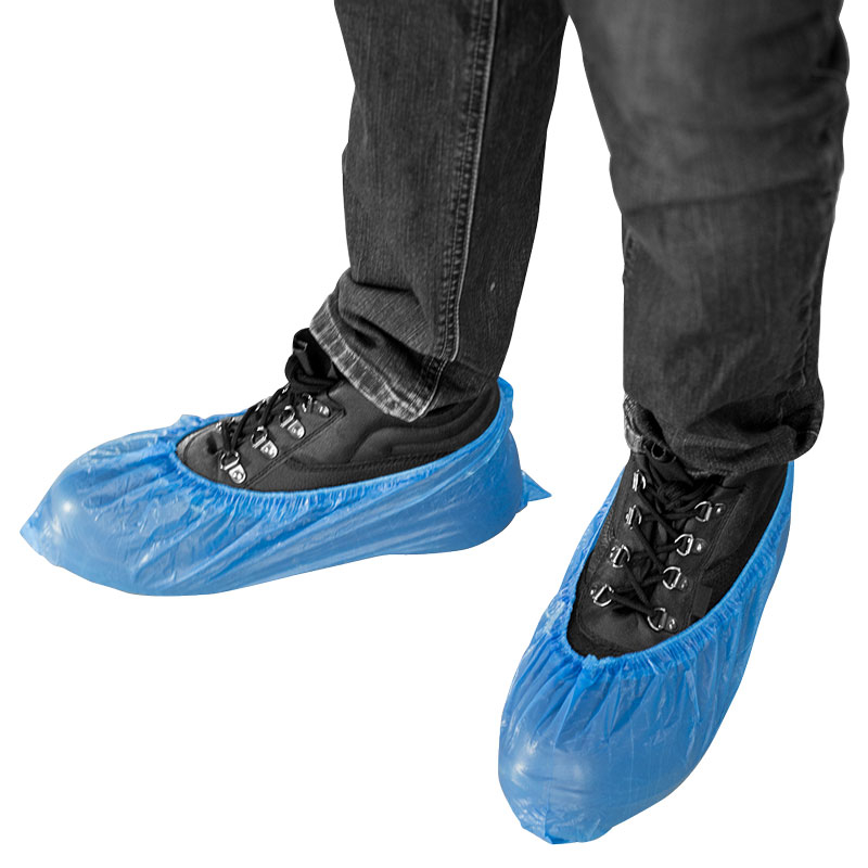Polythene Shoe Covers - Blue 2000 Singles Per Case 14inch