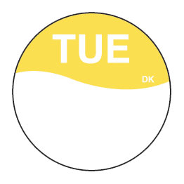Day Dot Labels Tues/Yellow 1000 Per Roll