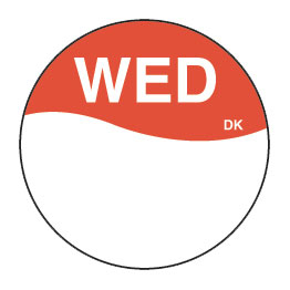 Day Dot Labels Wed/Red 1000 Per Roll