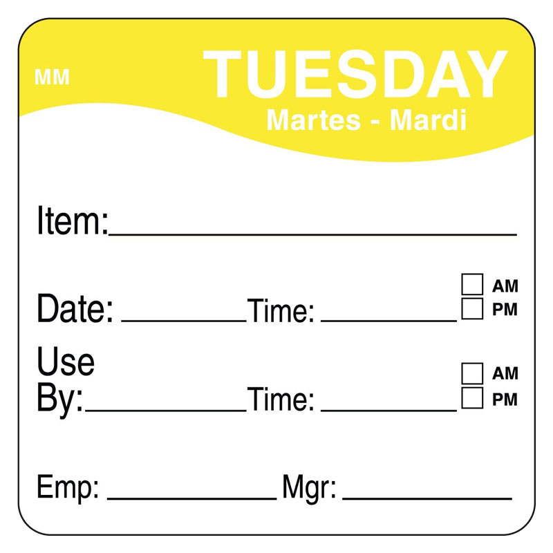 Day Of Week Prep Labels Tues/Yellow - 500 Per Roll