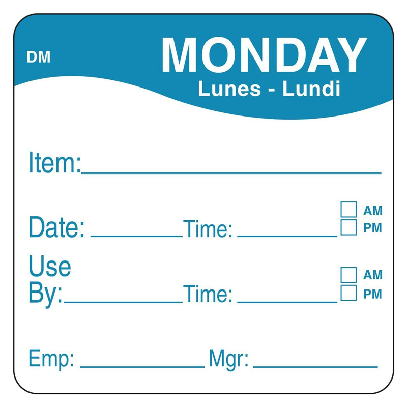 Day Of Week Prep Labels Monday/Blue - 500 Per Roll