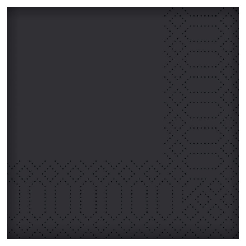 Napkin Cocktail - Black 2PLY 24X24CM 2400 Per Case 168386