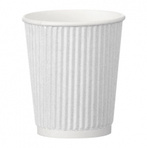 8oz White Ripple Hot Paper Cup (Case/500)