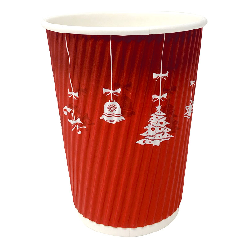 12OZ WARM RED CHRISTMAS DOUBLE WALL CUP 500/CASE